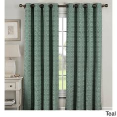 Window Elements Greek Key 96-inch Grommet Curtain Panel Pair (Teal), Blue, Size 54 x 96 (Cotton, Geometric)