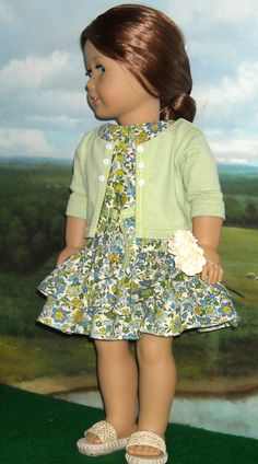 Contemporary Dress & Cardigan Outfit for18 inch dolls like Saige. $65.00, via Etsy.