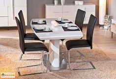 Salle a Manger : Table Extensible Winnipeg 160/200x90 cm + 4 Chaises