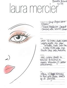 The Laura Mercier face chart for Pamella Roland Spring 2014, look created by Matin Maulawizada. #NYFW #beauty #cosmetics