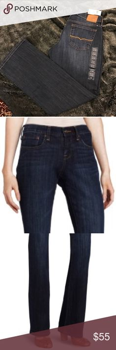 """Lucky Brand Women's Easy Rider Jean. B043 Lucky Brand Women's Easy Rider Jean, Dark Goldmine. W 4/27 L 30"""" 9.5"""" rise. Easy rider. Curvy Fit. Sits above the waist. 99% Cotton/1% Spandex Imported Button closure Machine Wash High-rise jean with dark rinse and whiskering at hips Straight-leg fit Five-pocket styling Zip fly and button Inseam is 30 inches Lucky Brand Jeans Straight Leg"""