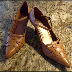 """Diba Brazilian Leather Pumps Extremely smart looking Brazilian leather pumps in a gorgeous soft brown. Intricate leather work at the toe area that will draw in a ton of compliments. 2 1/4"""" heel. Worn only once for a special occasion. Truly a great buy. Diba Shoes Heels"""