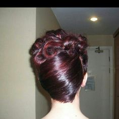 Very short hair upstyle red curls