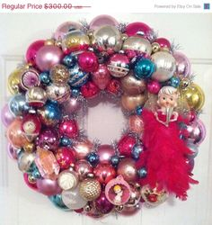 "ON SALE Yummy Pink Vintage Ornament Wreath ~ Large 21"" Indents, Shiny Brite, Howard Holt Feather Angel OOAK on Etsy, $240.00"