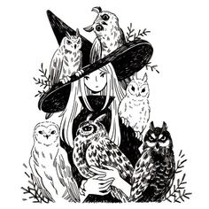 Heikala Inktober day A witch and six owl familiars Don't talk to me or my six flying cats ever again. Art And Illustration, Illustrations, Arte Inspo, Kunst Inspo, Fantasy Kunst, Fantasy Art, Inktober, Witch Drawing, Art Drawings