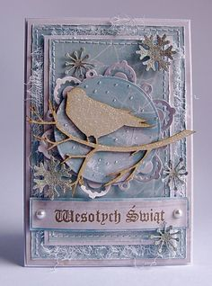 Shabby Winter Time Card...with bird on a branch cutout & glittered snowflakes...Dorota_mk.: