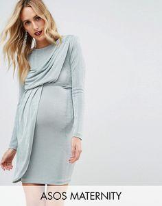 a1ad543839f31 ASOS Maternity Asymmetric Shoulder Pad Bodycon Mini Dress - Green Maternity  Mini Dresses, Asos Maternity