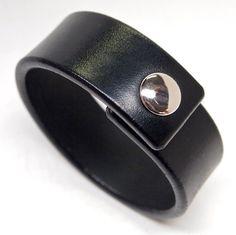 Black Leather wristband American bridle leather cuff 1 inch Δερμάτινα  Βραχιόλια c1c64115dd9