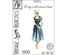 1950's Drop-waist summer dress B34 PDF sewing | Etsy