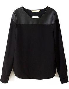 Blusas Femininas 2015 primavera nova marca de moda grife mulheres Casual  novidade preto contraste PU de 790421d2d10d5