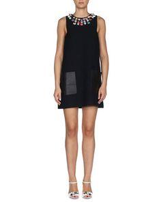 Studded Leather-Pocket Mini Shift Dress, Black by Fendi at Neiman Marcus.