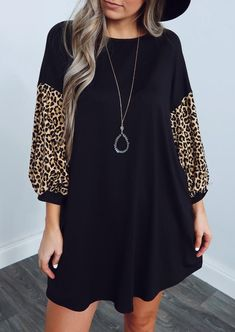 Leopard Printed Splicing Mini Dress without Necklace - Black - Bellelily 1 Piece Dress, Dress Outfits, Fashion Dresses, Look Fashion, Womens Fashion, Long Sleeve Mini Dress, Clothes, Neck Pattern, Mini Dresses
