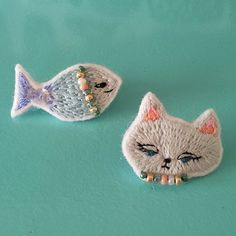 Embroidered Cat and Fish Brooches