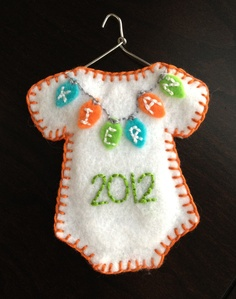 My sweet baby boy Kieran's first Christmas ornament. Quite proud of this!  Made it myself!!!Baby's First Christmas