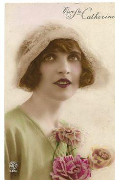 1920'S French Pretty Flapper IN Lace Bonnet Flower Photo Postcard | eBay
