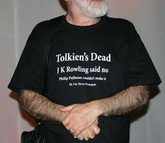 Terry Pratchett, for wearing this T-shirt.