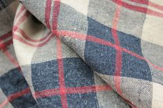 Beautiful 19th century French plaid ~ hand woven using Indigo blue and madder red dye ~ Lovely aged French country textile ~ www.textiletrunk.com