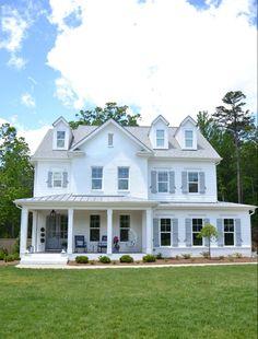 Brick Paint Colors, White Paint Colors, Exterior Paint Colors, Paint Brick, Sherwin Williams White, White Brick Houses, Blue And White Living Room, Blue Gray Paint, Favorite Paint Colors