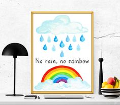 $4 Children printable nursery printable no rain no by SoulPrintables