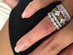 Fun to have a personal collection of stackable diamond rings to mix and match white diamonds colors gold white gold