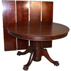 We are pleased to be offering today this original finish claw foot split pedestal base solid mahogany dining table that comes with 4 factory leaves that dates from the 1890's in original condition. It shows minor flaws here and there, nicks and dings and minute scratches. This is the type of table that we usually refinish before listing, but our shop is so busy that we are listing this one as is. If you are interested in having it refinished, please contact us and we can provide you with a quo Mahogany Dining Table, Victorian Life, Pedestal, Dates, Flaws, The Originals, Type, Antiques, Shop