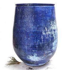 Large Blue Glazed Pot This ceramic vessel is handcrafted in the Netherlands and features a weathered patina. Terrace Garden, Garden Planters, Kind Of Blue, Blue And White, Blue Living Room Decor, Kinds Of Colors, Bond Street, Sculpture, Garden Gates