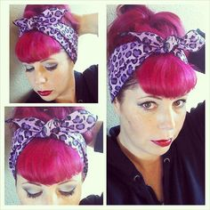 Purple Cheetah Leopard Animal Print one sided WIDE Headwrap Bandana Hair Bow Tie Vintage Style - Rockabilly - Pin Up - For Women, Teens