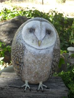 Old Barn Owl Rock Waiting OOAK Hand Painted by CCRockCreations, $150.00