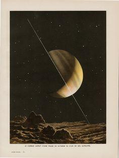 1930s Antique ASTRONOMY print Saturn by TwoCatsAntiquePrints