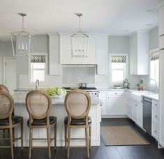 Kitchen Roman Shades in Schumacher Summer Palace Fret (shown in Smoke-comes in 4 colors)