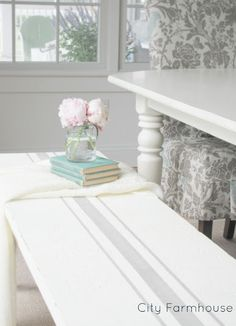 Love the Stripe on this bench by City Farmhouse