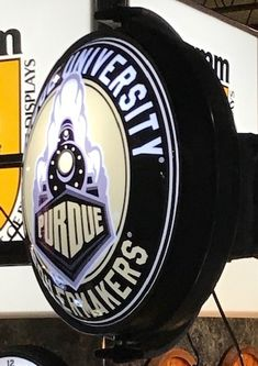 Purdue University Rotating Illuminated Wall Sign featuring the Boilermakers Secondary Logo. Purdue University, Wall Signs, 5 D, Man Cave, Dorm, Fans, Hardware, Gift, How To Make