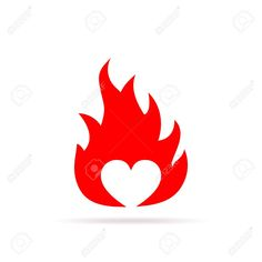 Illustration of Heart on fire, isolated on white background. Heart in flame, in flat design. Vector illustration vector art, clipart and stock vectors. Hearts On Fire, Fire Heart, Valentine Ideas, Valentine Heart, Icon Design, Logo Design, Teacher Brochure, Negative Space Logos, Heart Logo