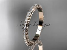 14kt rose gold diamond wedding ring engagement by anjaysdesigns