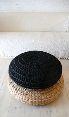 Floor Cushion Crochet  Giant knit  BLACK by lacasadecoto on Etsy, €89.00