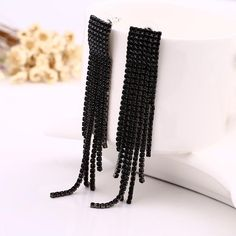 Black Full Rhinestone Vintage Tassel Earrings Drop Earring