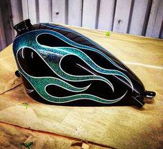 KDS Custom Motorcycle Paint Jobs, Custom Paint Jobs, Custom Art, Custom Bobber, Custom Motorcycles, Custom Tanks, Motorcycle Tank, Tank Design, Pinstriping