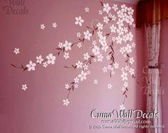 cherry flower wall decals cherry  blossom  vinyl wall decals girl nursery wall decals sticker children wall decal- cherry blossom Z168 cuma