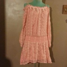 """Free People Dress Coral colored chiffon like dress elastic drop down waist has elastic around neckline worn off shoulder has adjusting straps buttons up the front and button sleeves lace inserts through out it 34""""long runs bigger Free People Dresses Midi"""