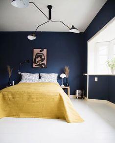 Navy Blue Bedroom Decor Elegant Navy Blue Painted Walls and Mustard Yellow Linen Duvet Bedroom Home Decor In 2019 Yellow Bedroom Decor, Bedroom Design, Blue Bedroom Decor, Navy Blue Painted Walls, Navy Blue Bedrooms, Blue Painted Walls, Rustic Living Room, Bedroom Color Schemes, Rustic Bedroom