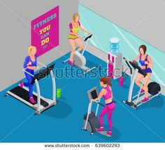 Isometric illustration fitness cardio workout with girls running elliptical machine, stepper, bicycle, good for sport infographics