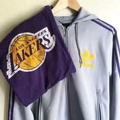 Vintage Adidas(S) and Laker shirt (M) Adidas hoodie with the Heritage's logo Trefoil.  Lakers color adidas, rare item. Adidas Tops