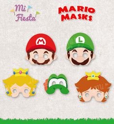 Mario brothers Inspired set Mario, Luigi, Yoshi, Princess Daisy and Princess Peach set Masks