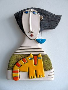 Handmade Ceramic Art Tile,Ceramic Sculpture,Girl with yellow cat,Wall Art - Original Ceramic Art Tile-Girl with cat Size: sm inches *All packages are sent vi - Ceramic Wall Art, Ceramic Clay, Tile Art, Ceramic Pottery, Pottery Art, Ceramic Planters, Ceramic Sculpture Figurative, Ceramic Sculptures, Cerámica Ideas