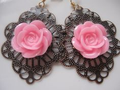 lacey pink rose earrings