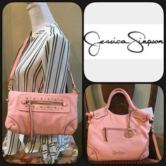 """Jessica Simpson Peach Melba Convertible Handbag Functional style handbag by Jessica Simpson. Fold over convertible bag. Carry as a satchel or fold over and carry as a clutch, wear as a cross body. Removable adjustable straps. Two Side front zipper pockets. Signature logo hang tag ring. Inside is leopard print with one zipper pocket and two side pockets. Snap closure. Color peach malba. Measures approximately 11.5""""W x 9.75"""" H x .5""""D. Synthetic leather. Jessica Simpson Bags"""