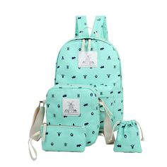 82.05$  Watch now - http://viodb.justgood.pw/vig/item.php?t=58dx9k33984 - 4 Pcs/Set Canvas Women Backpack School Bags For Teenage Girls Style Rucksack Cha 82.05$