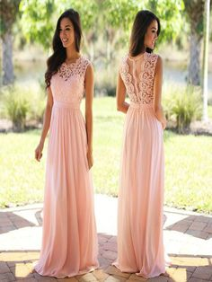 Lace bodice chiffon long bridesmaid dress