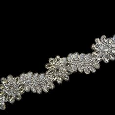 Floral silver trim with rhinstone and silver by ColourCocoon