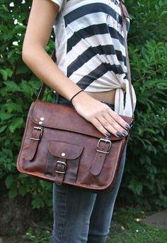 Vintage Real Leather everyday handbag satchel bag